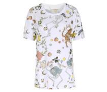 Leinen-shirt Mit Floralem Zirkus-print Blanc