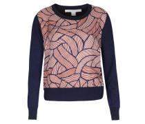 Pullover Mixed Mit Seide Und Wellen-print