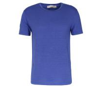 Leinen-Shirt Crew Neck Mittelblau