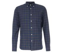 Kariertes Baumwollhemd mit Button-Down-Kragen Charcoal Navy