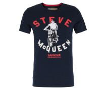Baumwoll-Shirt mit Steve McQueen Print Navy