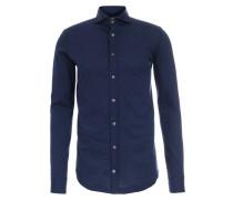 Jersey Baumwoll-Hemd Navy meliert