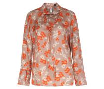 Viskose-seiden Mix Bluse Mit Floralem Print Nude/orange