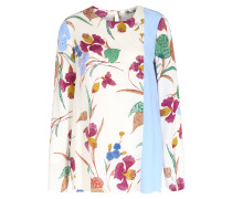 Bluse aus Seiden-Stretch mit floralem Print