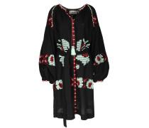 Tunika-Kleid Ophism mit bunter Folklore-Stickerei Schwarz