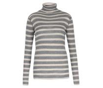 Cashmere-mix Pullover Mit Streifen Grau/ecru