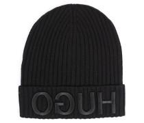 Woll-Mütze mit Logo Schwarz