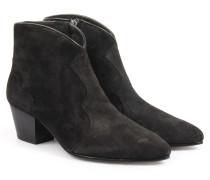 Veloursleder-ankle-boots Im Western-stil Black