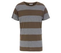 Gestreiftes Baumwoll-Shirt Oliv/Grau