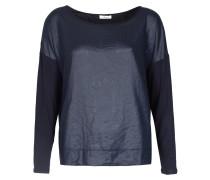 Langarmshirt Mit Crinkle-details Night Blue