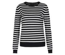 Gestreifter Feinstrick-pullover Mit Zipp-details