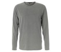 Baumwoll-Langarmshirt mit Rollkante Mittelgrau