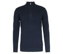 Merinowoll-Pullover mit Zipper Navy