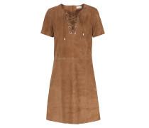 Lace-Up Veloursleder-Kleid Athena Cognac