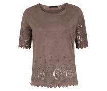 Shirt in Veloursleder-Optik mit Lasercut-Muster