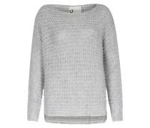 Oversize Pullover Mit Silbernen Lurex-details