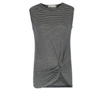 Leinen-shirt Mit Knotendrapierung Dunkelblau