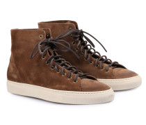 Veloursleder-High-Top Sneakers Tanino Tabacco