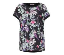 Bluse mit Seiden-Front Black Flower