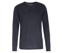 Doubleface-Henley-Longsleeve im Woll-Cashmere-Mix Marine
