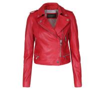 Lederjacke Im Biker-stil Mit Zipperdetails Rot