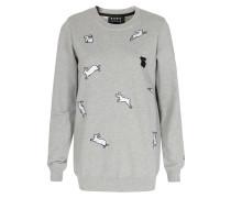 Baumwoll-Sweater mit Häschen-Patches Grau