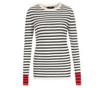 Pullover mit Streifen Creme/Dunkelblau