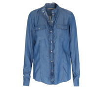 Lyocell-Bluse in Denim-Optik Mittelblau