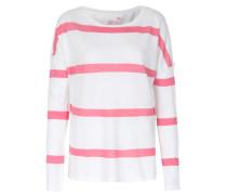Cashmere-mix Pullover Weiß/pink Gestreift