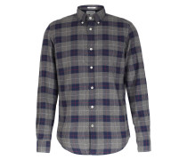 Baumwollhemd Karo Grey Navy Plaid Flannel