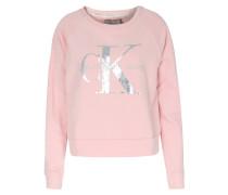 Baumwoll-sweater Mit Metallic-schriftzug Rose