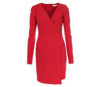 Business-Kleid im Wickel-Look mit goldenen Details Mittelrot