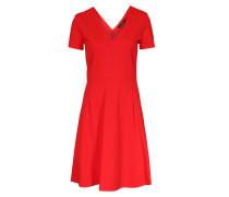 Kleid Mit V-neck Mittelrot