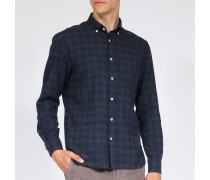 Kariertes Baumwollhemd mit Button-Down-Kragen Charcoal Navy