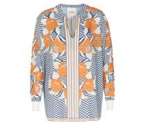 Viskose-bluse Mit Blumen-print Und Grafischem Muster