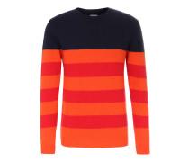Woll-Pullover mit Streifen Navy/Orange