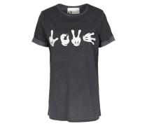 Baumwoll-shirt Menta Mit Print Und Glitzer-details Anthra