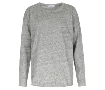 Melierter Baumwoll-sweater Mit Logo-stitching Grey