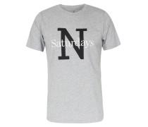 Baumwoll-Shirt NY Overlay mit Schriftzug Ash Heather