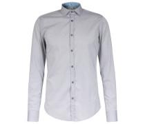 Slim-Fit Baumwoll-Hemd New-Kent-Kragen Mittelgrau