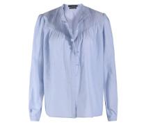 Baumwoll-bluse Mit Biesendetails Und Volant Hellblau