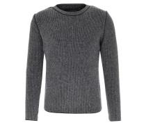 Pullover im Woll-Mix mit Kontrast-Nähten Mittelgrau