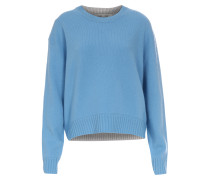 Cashmere-Pullover mit Farbkontrast Blau/Grau