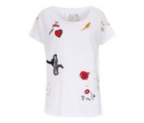 Baumwoll-Shirt mit Print und Patches Weiß