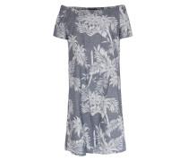 Off-shoulder Kleid Mit Palmenprint Graublau