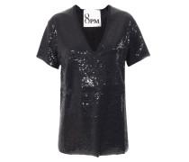 Shirt im Boxy-Schnitt mit Pailletten Schwarz