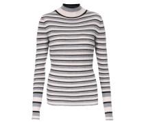Merinowoll-Pullover mit Turtleneck Grau/Schwarz gestreift