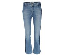 Kick Flare Jeans Ivana Stripe Mittelblau