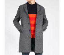 Mantel Boxy mit Fischgrät-Muster Mittelgrau