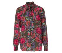 Seidenbluse mit floralem Print Oliv/Pink